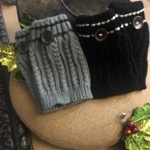 2 Pairs Black and Gray Buttoned Accent Boot Cuffs